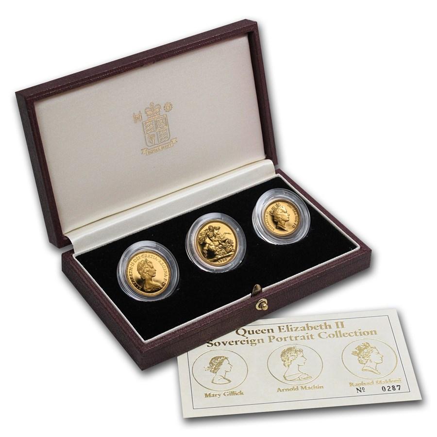 Great Britain 3-Coin Gold Sovereign Elizabeth II Portrait Prf Set