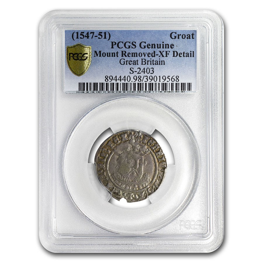Great Britain AR Groat Henry VIII (1547-1551 AD) XF Detail PCGS