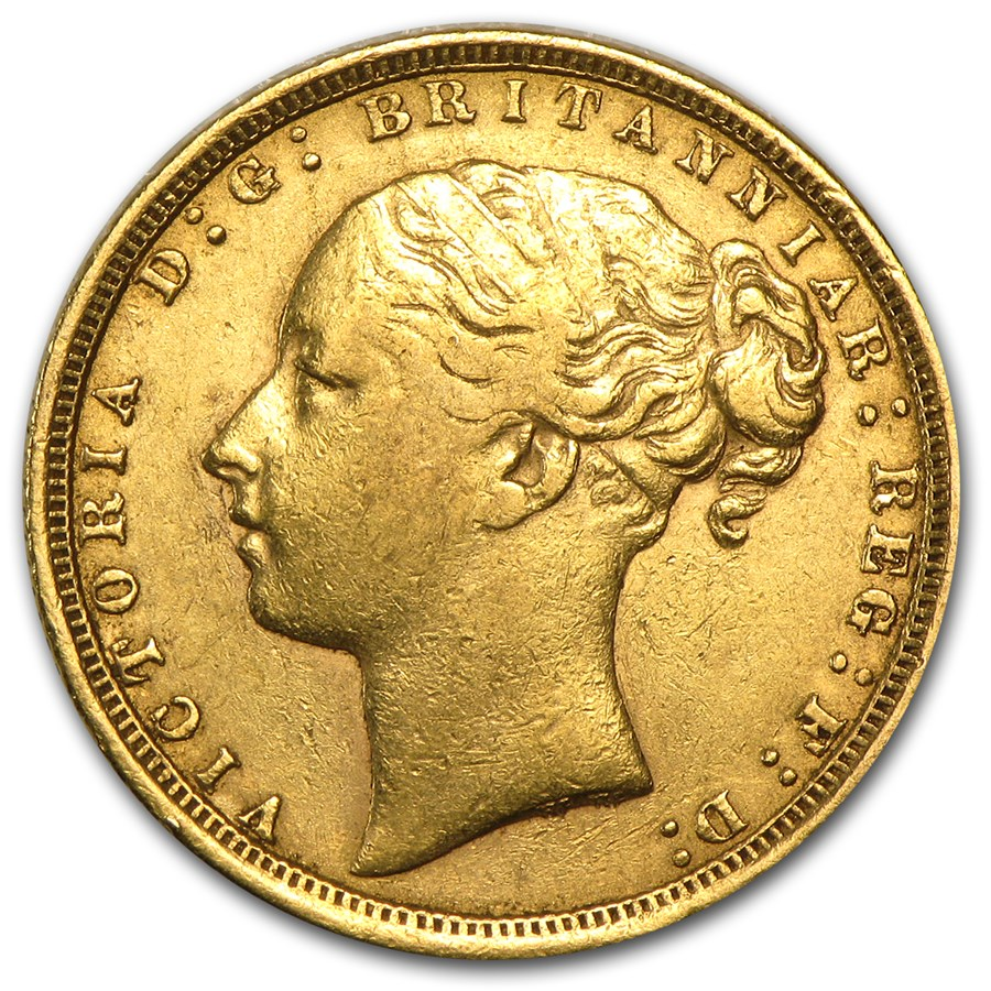Great Britain Gold Sovereign Young Victoria (1871-1885) Avg Circ