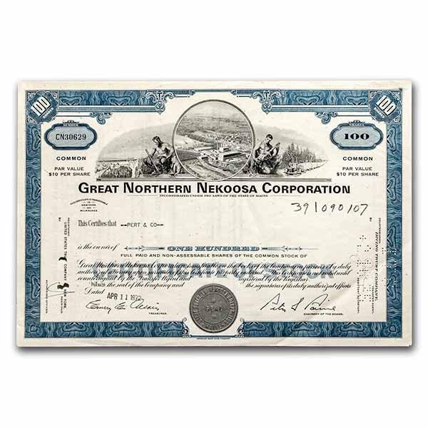 Great Northern Nekoosa Corporation Stock Certificate (Blue)