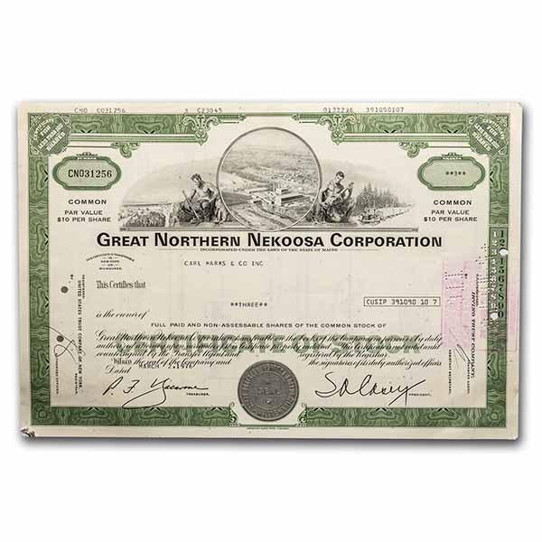 Great Northern Nekoosa Corporation Stock Certificate (Green)