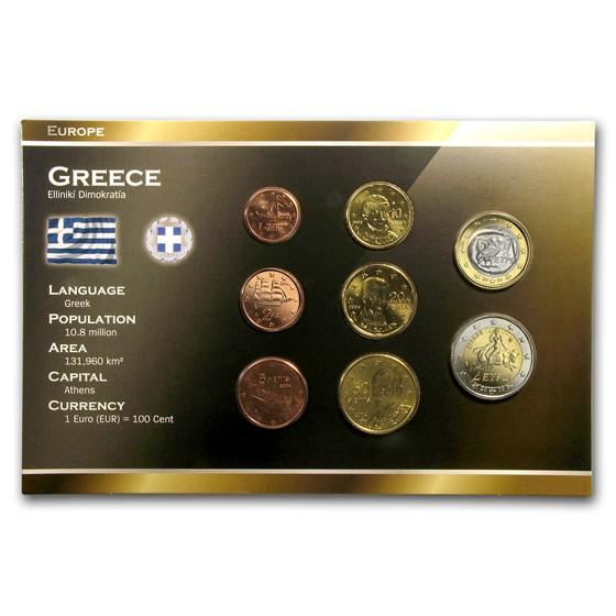 Greece 1 Cent-2 Euro 8-Coin Euro Set BU