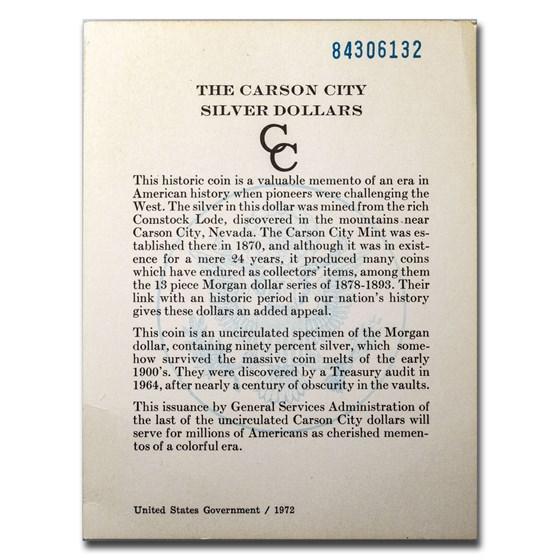 GSA COA - 1884-CC Morgan Dollar