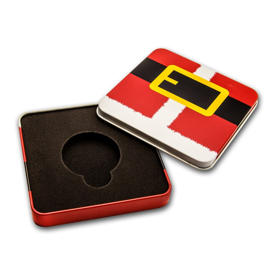 Holiday Tin Gift Box - Santa Belt Buckle (Single Coin)