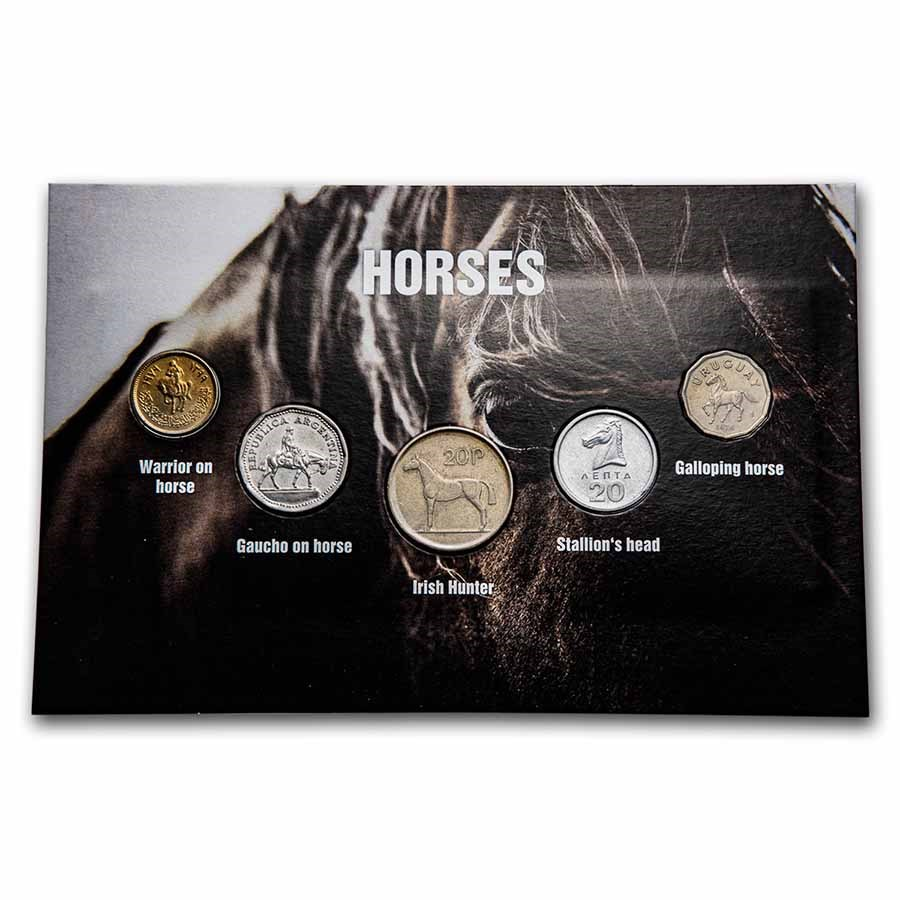 Horse Coins from Around the World 5-Coin Set BU