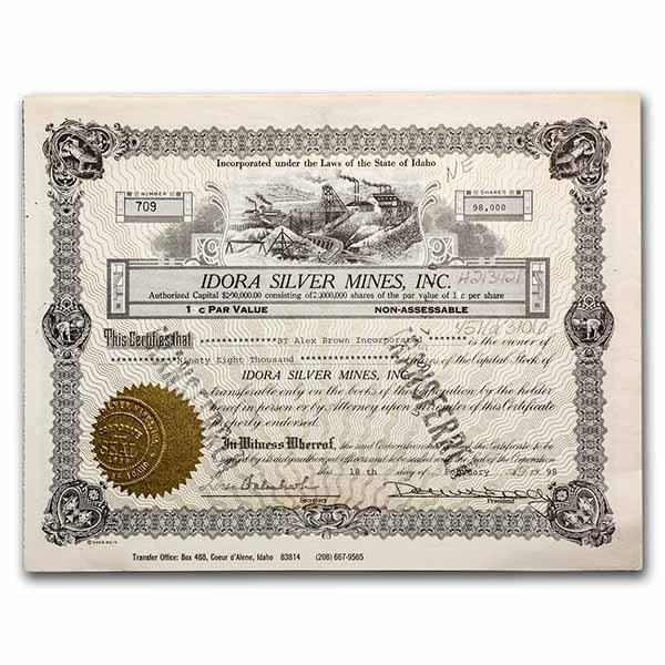 Idora Silver Mines, Inc. Stock Certificate