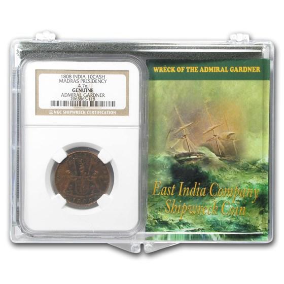 India 1808 10 Cash Wreck of the Admiral Gardner Set Medium Grade