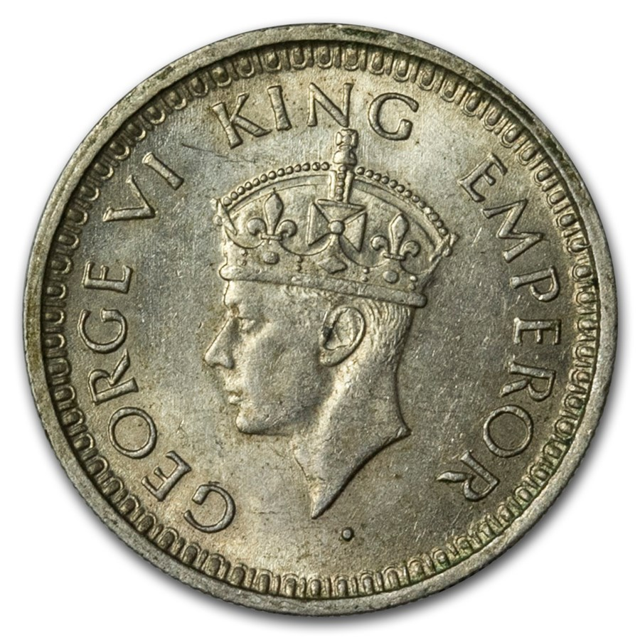 India Silver 1/4 Rupees King George VI Avg Circ