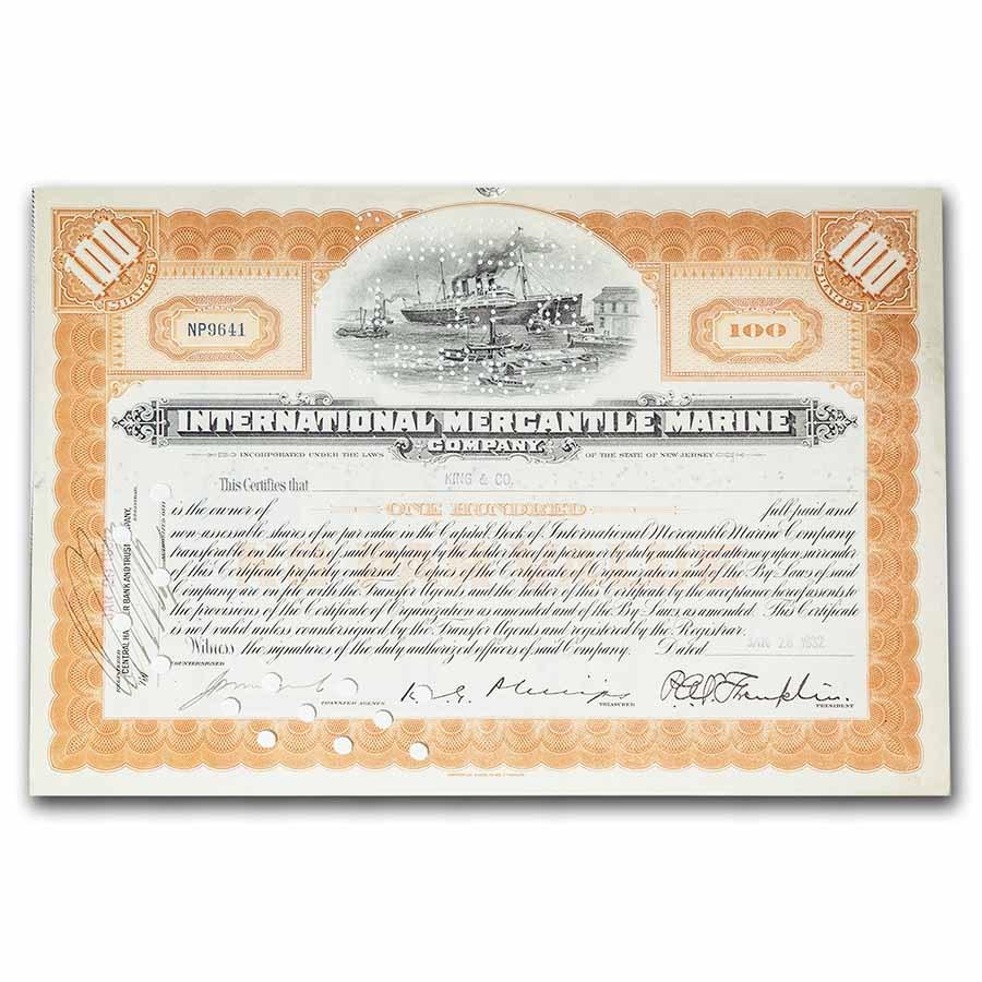 "International Mercantile Marine Company ""Titanic"" Stock Cert"