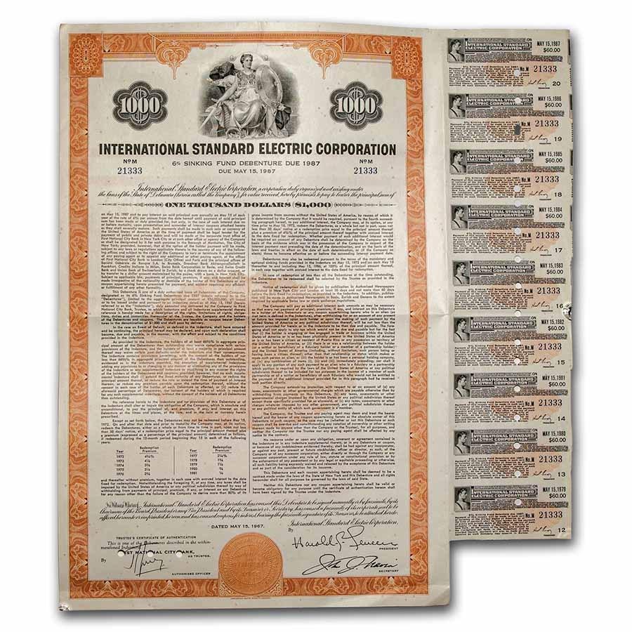 International Standard Electric Corp. Bond Certificate (Orange)