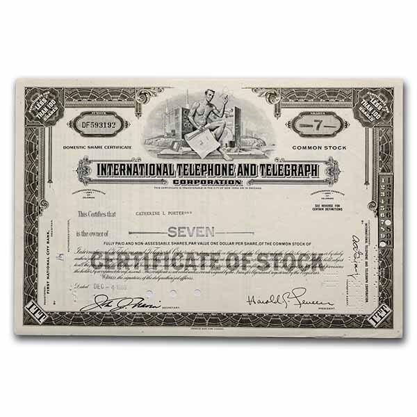 International Telephone and Telegraph Corp Stock Cert (Gray)