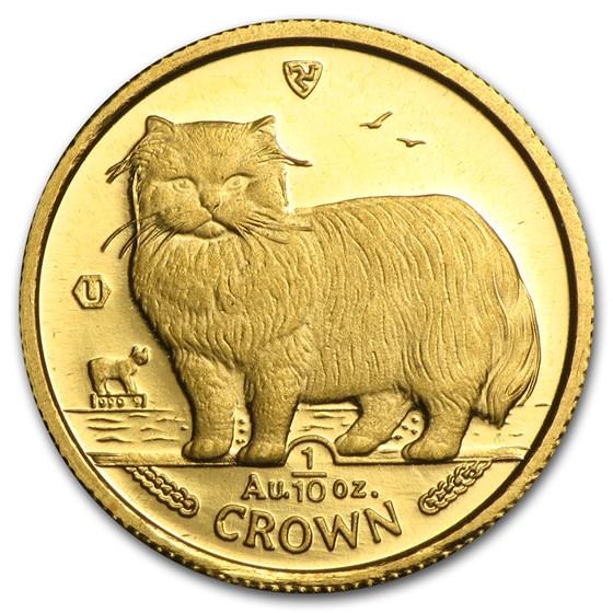 Isle of Man 1/10 oz Gold Cat BU/Proof (Random)