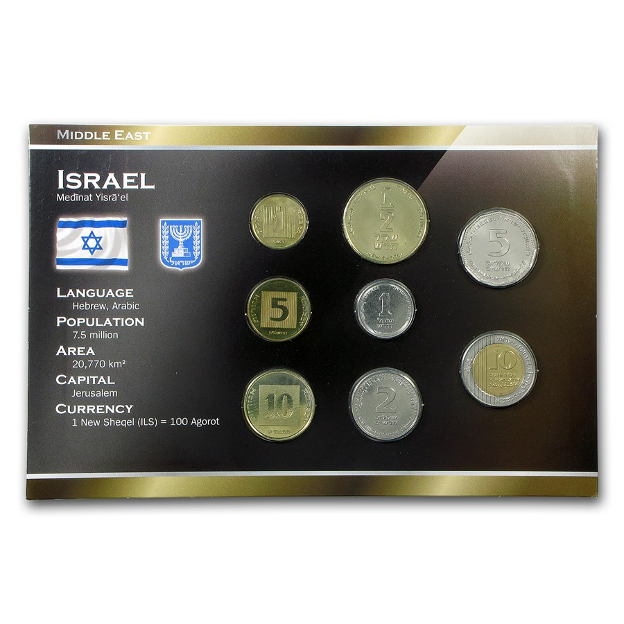 Israel 1 Agora - 10 New Shequalim 8-Coin Set BU