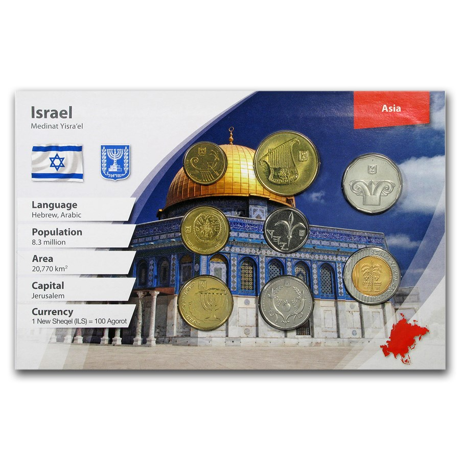 Israel 1 Agorot - 10 NIS 8-Coin Set BU (Landscape Packaging)