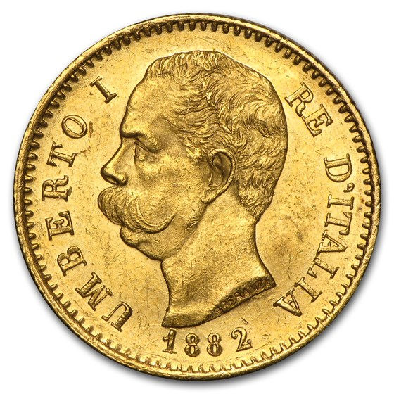 Italy Gold 20 Lire Umberto I 1879-1897 AU (Random Year)