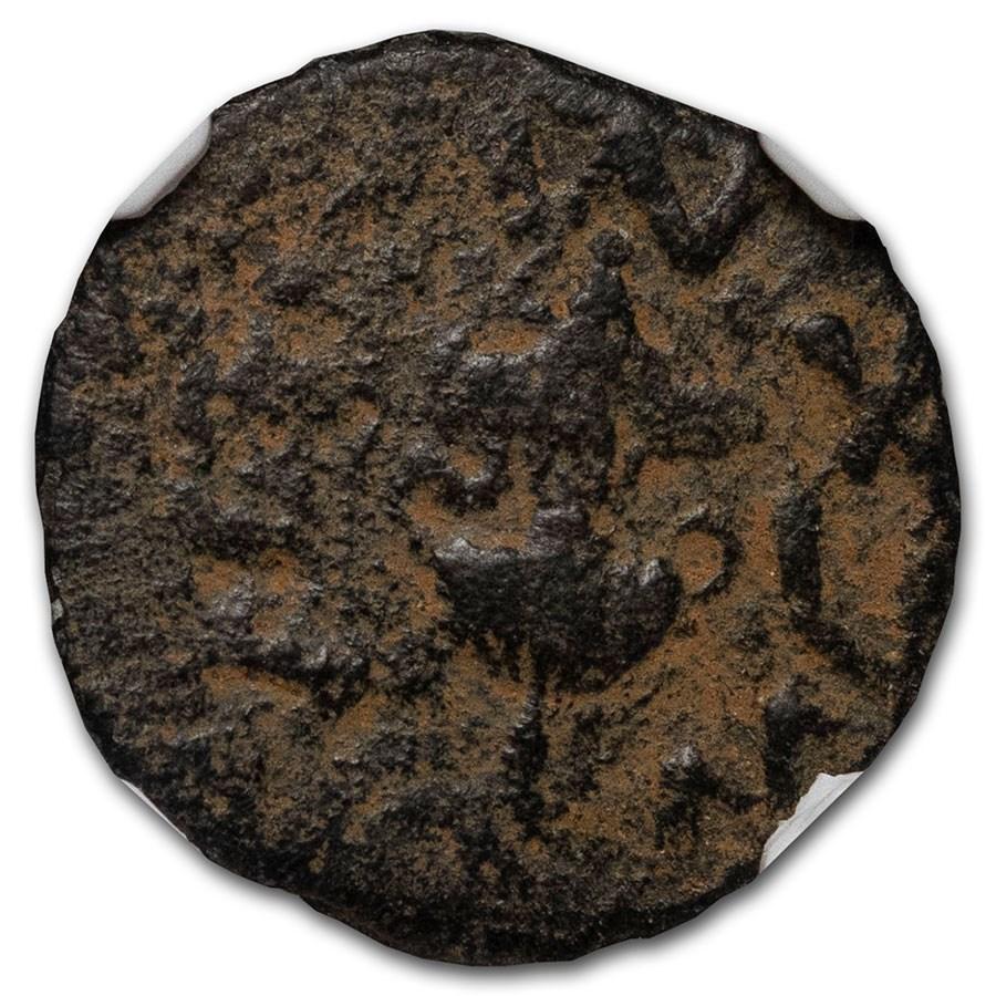 Judaea AE Prutah Jewish War 68/9 AD Ch Fine NGC Year 3 (Repatina)