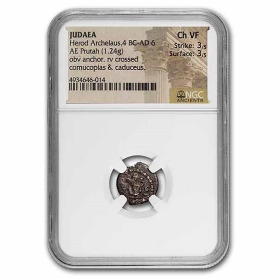 Judaea Herod Archelaus AE Prutah 4 BC- 6 AD Fine NGC Hendin-1193