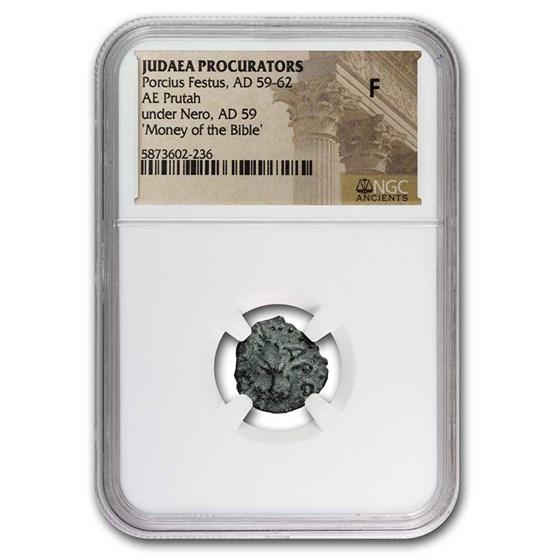 Judaea Procurators AE Prutah Porcius Festus (59-62 AD) Fine NGC