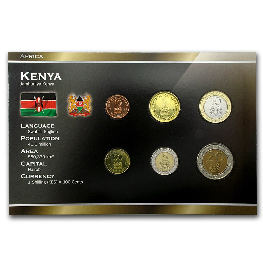 Kenya 10 Cents-20 Shillings Coin Set Unc