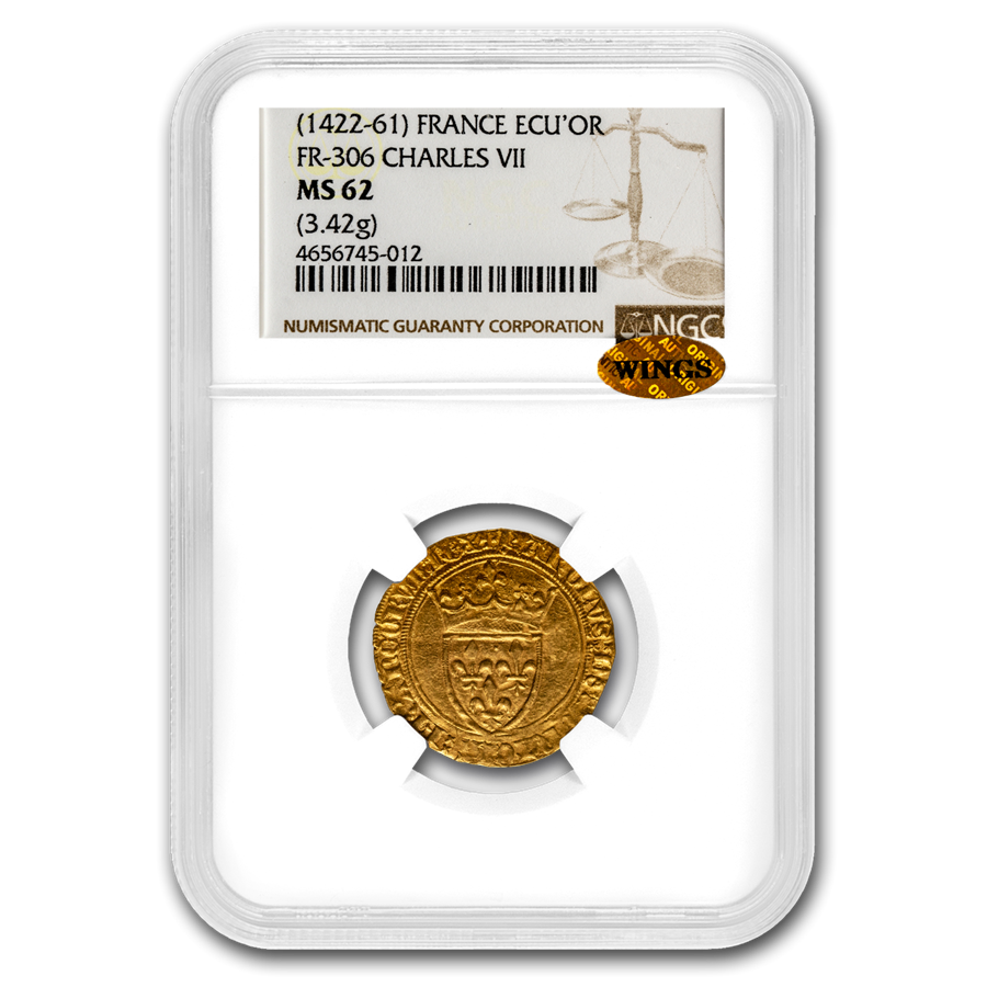 Kingdom France Gold AV Ecu d'or Charles VII 1422-61 AD MS-62 NGC