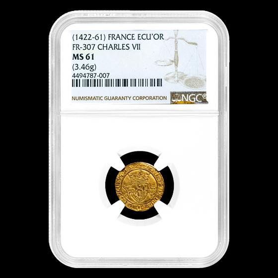 Kingdom France Gold AV Ecu d'or Charles VII (1422-61) MS-61 NGC