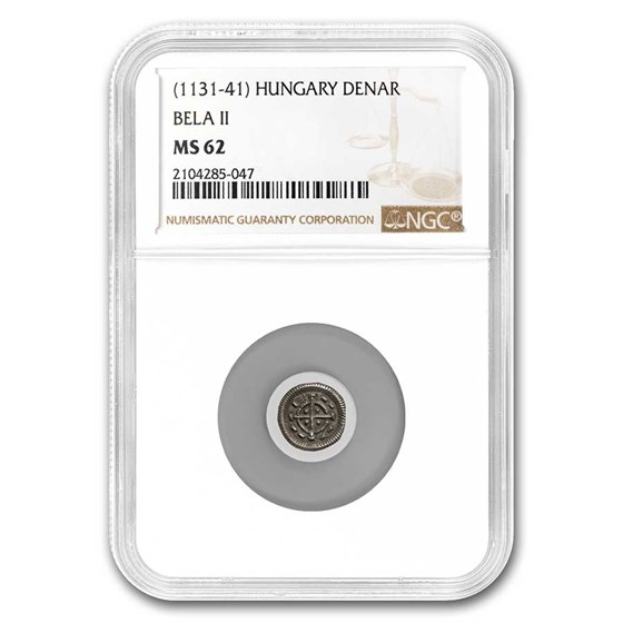 Kingdom of Hungary Silver Denar Bela II (1131-41 AD) MS-62 NGC