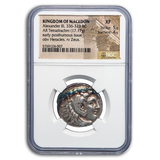 Kingdom of Macedon AR Tetradrachm Alexander III 336-323 BC XF NGC