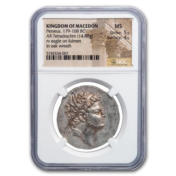 Kingdom of Macedon AR Tetradrachm Perseus (179-168 BC) MS NGC