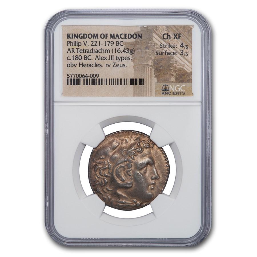 Kingdom of Macedon AR Tetradrachm Philip V (221-179 BC) Ch XF NGC