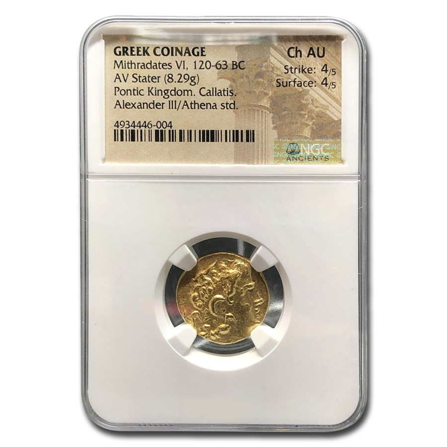 Kingdom of Pontus Gold AV Stater Mithradates VI Ch AU NGC