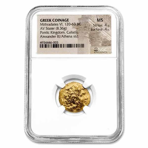 Kingdom of Pontus Gold Stater Mithradates VI (120-63 BC) MS NGC