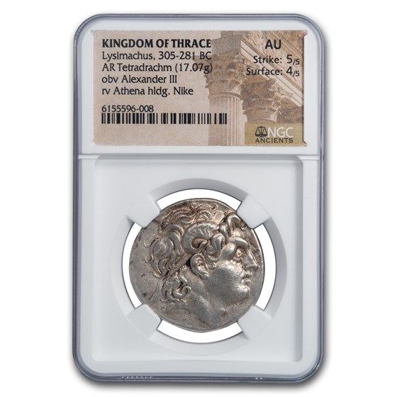 Kingdom of Thrace AR Tetradrachm Lysimachus (305-281 BC) AU NGC