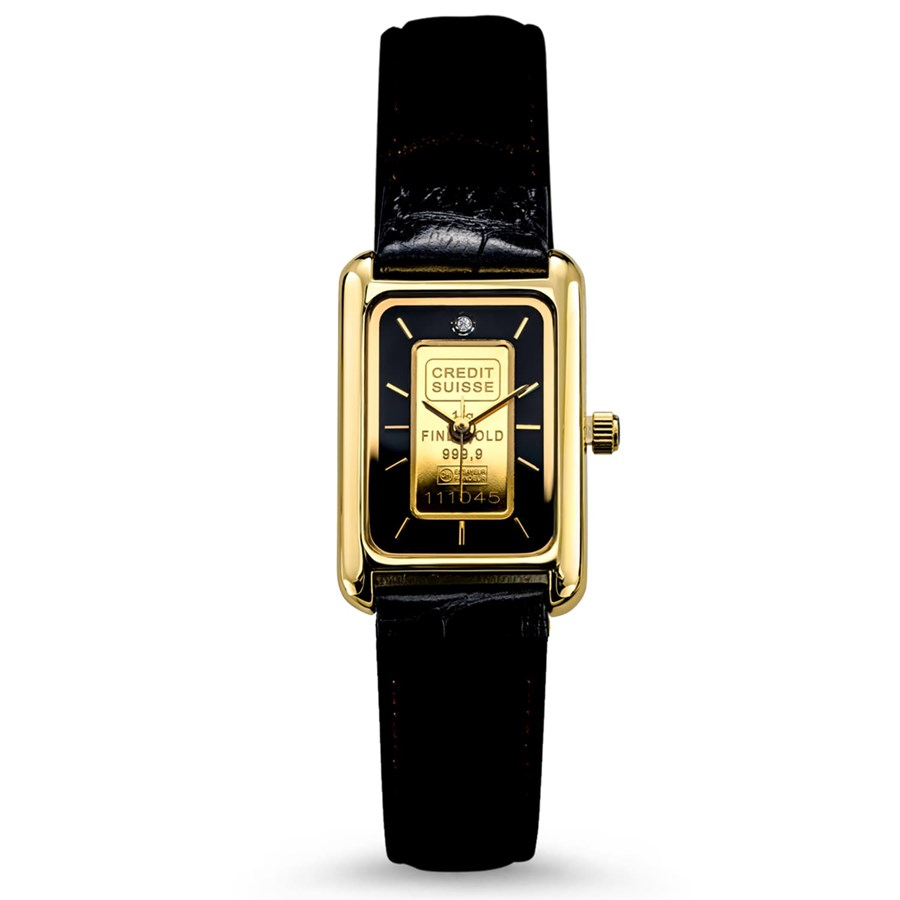 Ladies 1 gram Gold Credit Suisse Grained Leather Band Watch