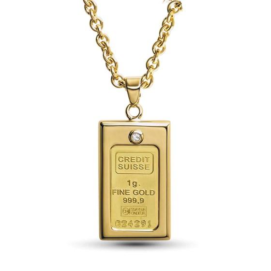 Ladies 1 gram Gold Credit Suisse Pendant Necklace w/ CZ