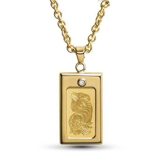 Ladies 1 gram Gold Pamp Suisse Pendant Necklace w/ CZ