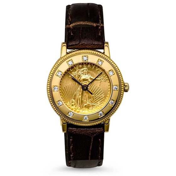Ladies 2019 1/10 oz Gold American Eagle Leather Band Watch