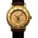 Ladies 2021 1/10 oz Gold American Eagle Leather Band Watch