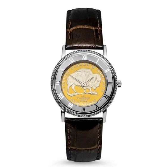 Ladies Gilded Buffalo Nickel Leather Band Watch