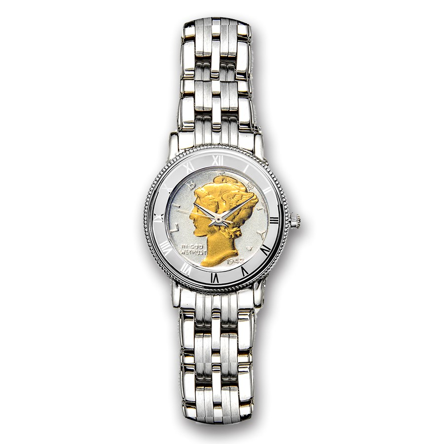 Ladies Gilded Mercury Dime Stainless Steel Oyster Bracelet Watch
