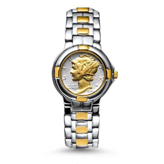Ladies Gilded Mercury Dime Two-tone S/S Oyster Bracelet Watch