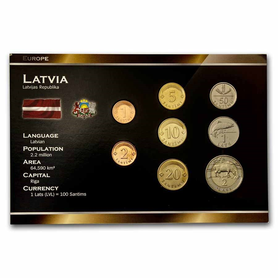 Latvia Pre-Euro 8-Coin Set BU