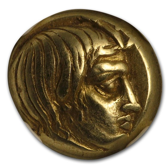 Lesbos, Mytilene EL Hecte Aktaion/Gorgon (454-427 BC) Ch XF NGC