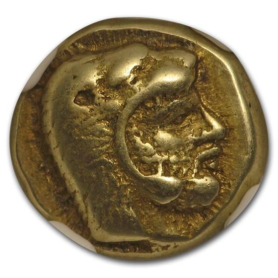 Lesbos, Mytilene EL Hecte Heracles/Bull (478-455 BC) XF* NGC