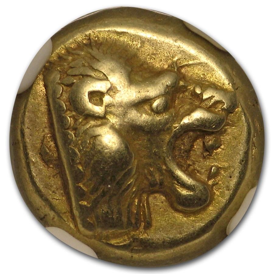 Lesbos, Mytilene EL Hecte Lion (521-478 BC) XF NGC
