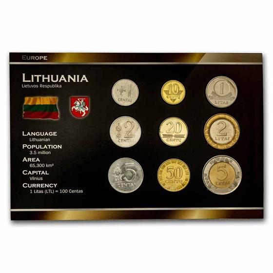 Lithuania Pre-Euro 9-Coin Set BU