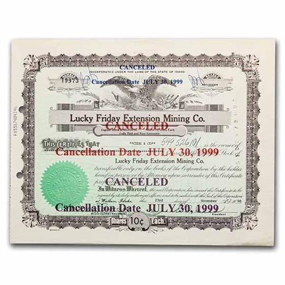 Lucky Friday Extension Mining Co. Stock Certificate