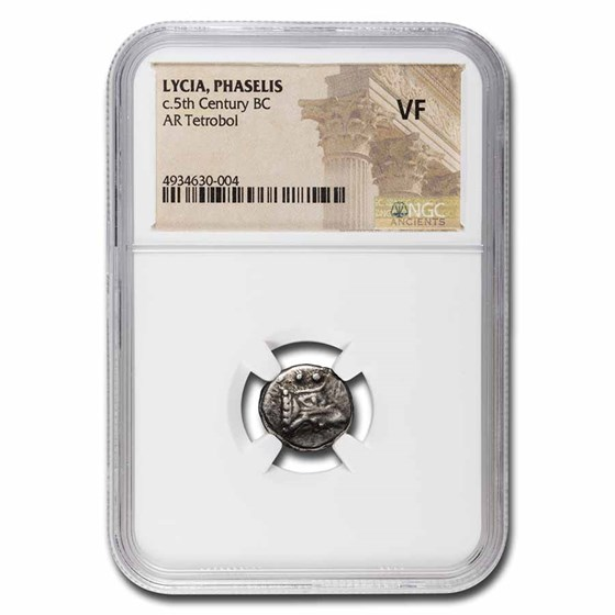 Lycia,Phaselis AR Silver Tetrobol Galley (5th Cent BC) VF NGC