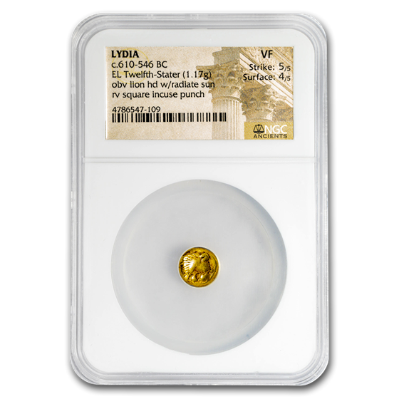 Lydia Gold EL Twelfth-Stater (610-546 BC) VF NGC