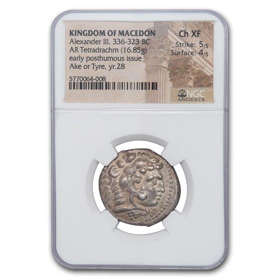 Macedon AR Tetradrachm Alexander III (336-323 BC) Ch XF NGC