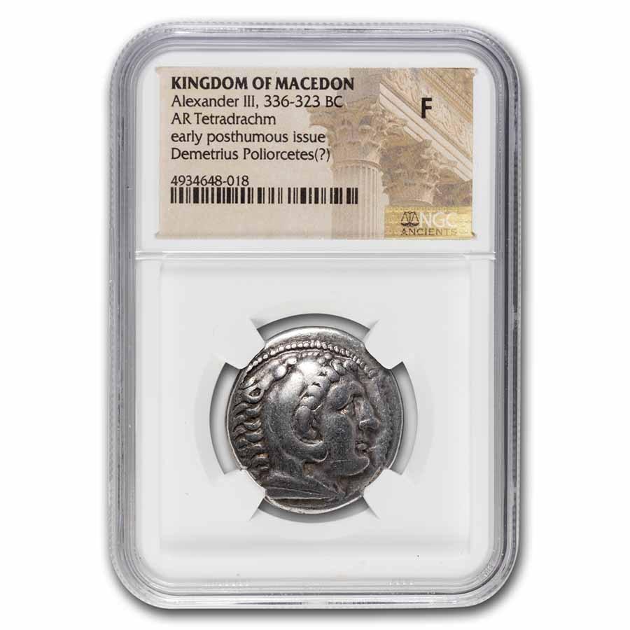 Macedon AR Tetradrachm Demetrius Pollorcetes 336-323 BC Fine NGC